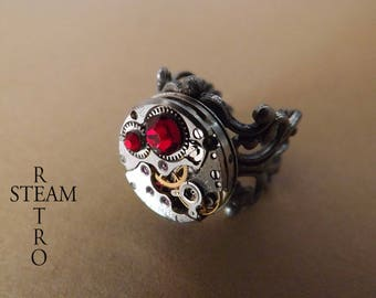 Red filigree steampunk ring