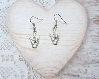 Pair of dangling earrings jewelry handmade rock