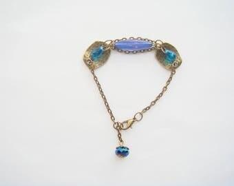 bronze Pearl chandelier drop blue bracelet
