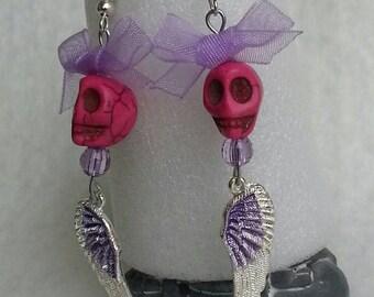 Earrings for teens, skull pink howlite, silver wings, purple organza bows