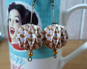 Origami earrings balls mustard yellow and white paper vintage patterns