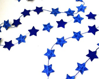 Japanese paper and cardstock color Royal Blue Star Garland