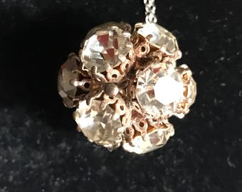 Vintage Rhinestone Cluster Necklace