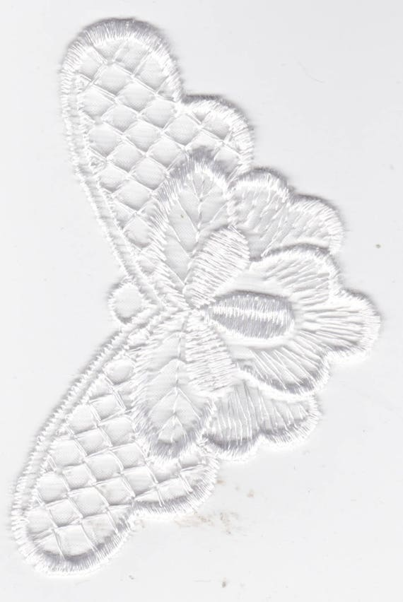Embroidery lace - White - Butterfly pattern