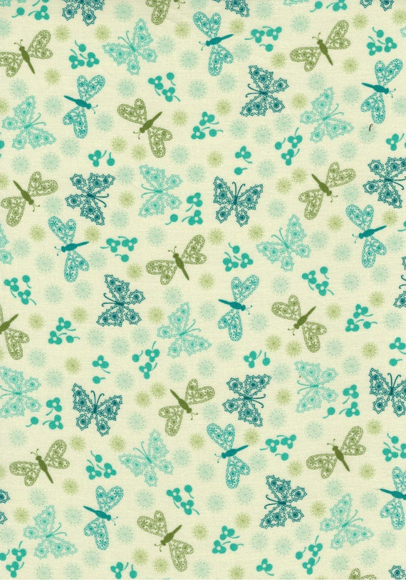 Butterfly and Dragonfly pattern cotton fabric coupon
