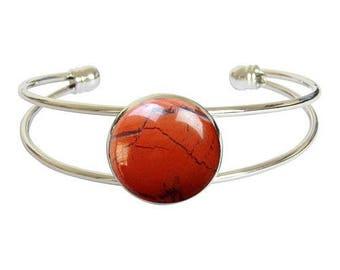 Silver plated - red Jasper cabochon bracelet