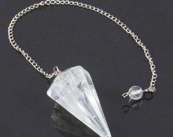 Pendulum faceted rock crystal