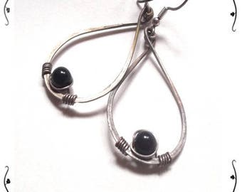 Silver 925/1000 with black stone earrings