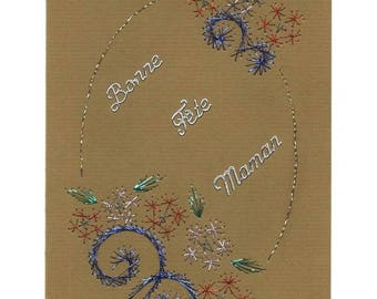 Embroidered card 1132 flowers mother's day.