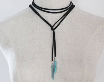 Black Choker with pendant beads turquoise 150 cm
