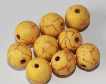 Yellow stone beads, 8mm, set of 10