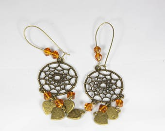 Spider Web, Tan color earring