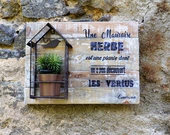 Frame quote personnaliser_Tableau 3d_deco proverbe_etagere for plante_deco Industrielle_ storage rustic wrought iron pallets