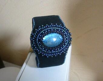 Embroidered blue labradorite bracelet