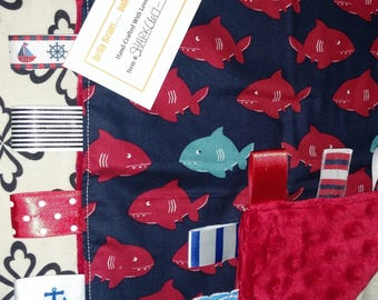 Red/Blue Shark Print Luvy Tab Blanket