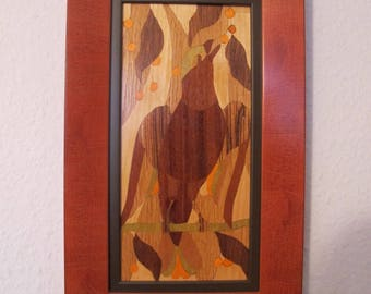Picture inlaid wood bird and berries