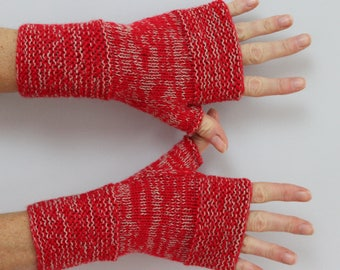 bright red and beige hand knitted woman mittens