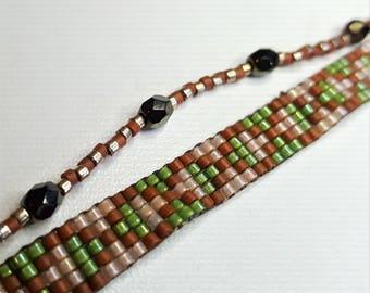 Green/Brown miyuki beads woven bracelet