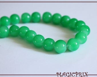 SET of 25 green Ø 8 mm 974 tinted glass beads