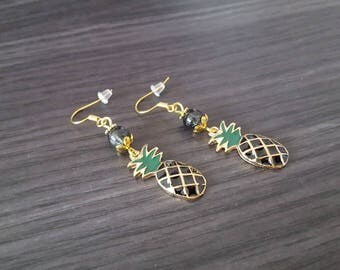 Pineapple gold black Earrings