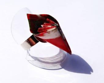 """Origami bird"" ring petal"