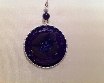 Earrings caps purple and pearls