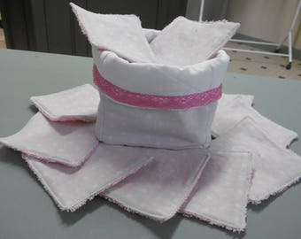 10 Terry lined cotton washable wipes with her basket