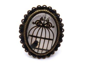 Retro vintage bird cage ring