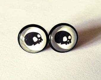 Small earrings skull black skull