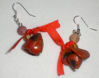 Earrings orange, bronze and satin fabric