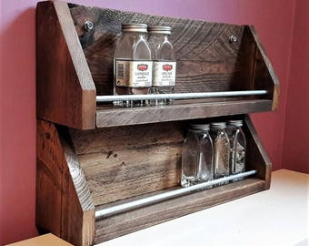 Spice rack to ask or suspend industrial raw look pallet wood