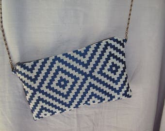 Blue geometric clutch/shoulder