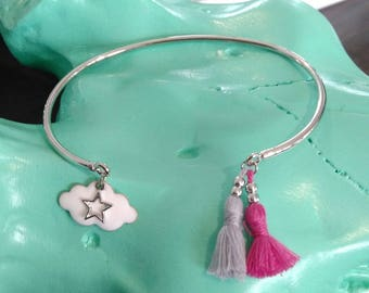 Bangle bracelet silver and white cloud