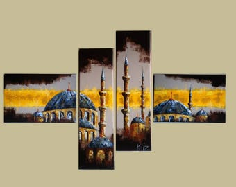 Table modern mosque in 4 panels