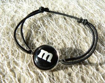 M bracelet & me black bows s sliding belly cabochon 14mm