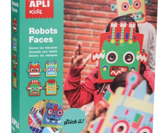 Set of 4 masks robots to decorate with stickers - Kids - Ref 14151 - APLI until the stock!