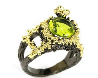 Green peridot ring art nouveau vintage style
