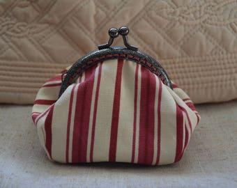 Wallet fabric ticking stripe.