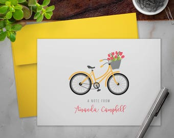 Personalized Stationery Note Cards Set with Envelopes | Vintage Bike and Tulips