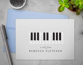 Personalized Stationery Note Cards Set with Envelopes | Classic Music Piano