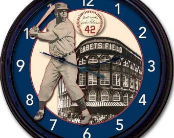 Jackie Robinson, Brooklyn Dodgers, Ebbets Field, #42, Wall Clock, Baseball, 1955 Brooklyn Dodgers, 1955 World Series, New 10""