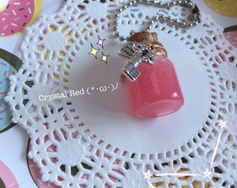 Slime Bottle Necklace/Keychain (Crystal Red)