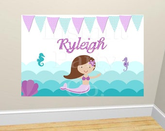 Mermaid birthday backdrop | Mermaid poster | Under the sea backdrop | mermaid banner | Mermaid backdrop