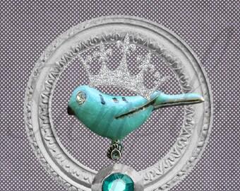 Textile transfer ° Precious Bird 6.5/6, 5cm creating Jul and wire bird Crown polka dots