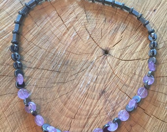 Amethyst & Hematite beaded necklace