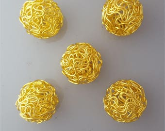 Set of 10 large beads hollow round 18 mm #2701-10 gold plated twisted wire