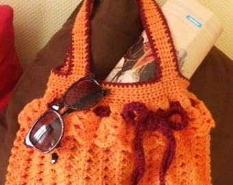 Orange ruffled crocheted courtelle wool handbag for summer