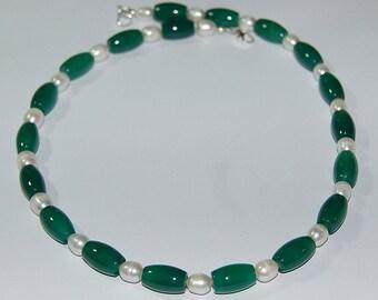 Precious stone chain - agate, Pearl