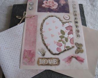 Kit card, vintage, retro, pink flower, heart, butterfly, polka dots