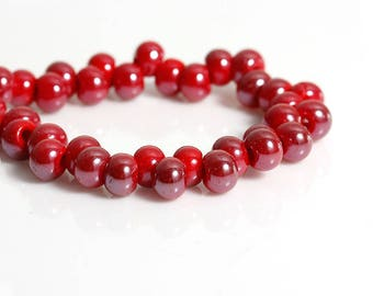 Lot 50 beads flat round glass 6mm red - SC77040-